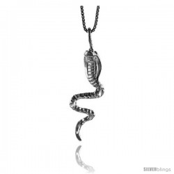 Sterling Silver Snake Pendant, 1 3/8 in Tall