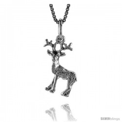 Sterling Silver Deer Pendant, 3/4 in Tall