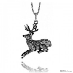 Sterling Silver Deer Pendant, 1 in Tall