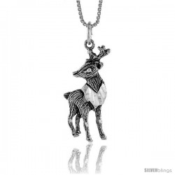 Sterling Silver Deer Pendant, 1 1/4 in Tall