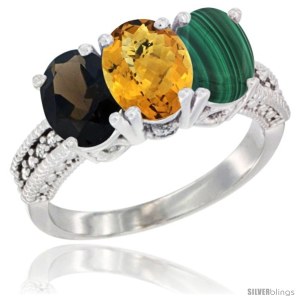 https://www.silverblings.com/1811-thickbox_default/10k-white-gold-natural-smoky-topaz-whisky-quartz-malachite-ring-3-stone-oval-7x5-mm-diamond-accent.jpg