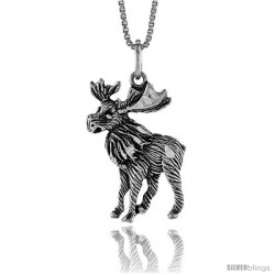 Sterling Silver Moose Pendant, 1 in Tall