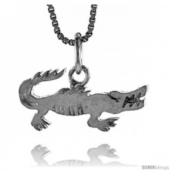 Sterling Silver Crocodile Pendant, 3/4 in wide