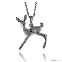 Sterling Silver Deer Pendant, 1 in Tall -Style 4p390