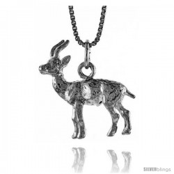 Sterling Silver Deer Pendant, 7/8 in Tall