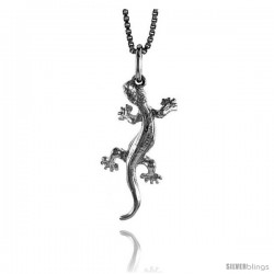 Sterling Silver Gecko Pendant, 1 in Tall