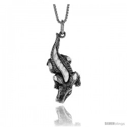 Sterling Silver Gecko Pendant, 1 1/4 in Tall