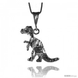 Sterling Silver T Rex Dinosaur Pendant, 1 1/4 in tall
