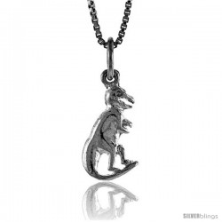 Sterling Silver Small T Rex Dinosaur Pendant, 5/8 in Tall