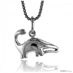 Sterling Silver Small Sauropoda Dinosaur Pendant, 1/2 in Tall -Style 4p398