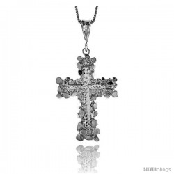 Sterling Silver Large Nugget Cross Pendant, 1 3/4 in