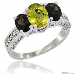 10K White Gold Ladies Oval Natural Lemon Quartz 3-Stone Ring with Smoky Topaz Sides Diamond Accent
