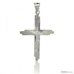 Sterling Silver Crucifix Pendant w/ Cross, 1 3/4 in tall