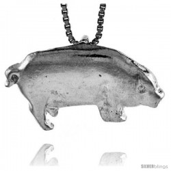 Sterling Silver Pig Pendant, 1 in wide