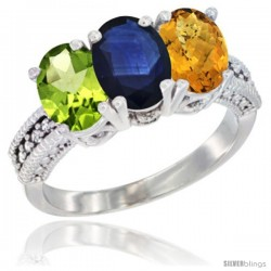 14K White Gold Natural Peridot, Blue Sapphire & Whisky Quartz Ring 3-Stone Oval 7x5 mm Diamond Accent