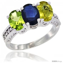 14K White Gold Natural Peridot, Blue Sapphire & Lemon Quartz Ring 3-Stone Oval 7x5 mm Diamond Accent