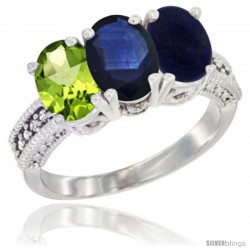 14K White Gold Natural Peridot, Blue Sapphire & Lapis Ring 3-Stone Oval 7x5 mm Diamond Accent