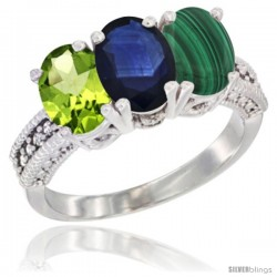 14K White Gold Natural Peridot, Blue Sapphire & Malachite Ring 3-Stone Oval 7x5 mm Diamond Accent