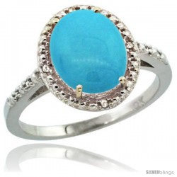 10k White Gold Diamond Sleeping Beauty Turquoise Ring 2.4 ct Oval Stone 10x8 mm, 1/2 in wide -Style Cw918111