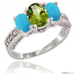 10K White Gold Ladies Oval Natural Peridot 3-Stone Ring with Turquoise Sides Diamond Accent