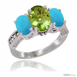 10K White Gold Ladies Natural Peridot Oval 3 Stone Ring with Turquoise Sides Diamond Accent