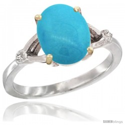 10k White Gold Diamond Sleeping Beauty Turquoise Ring 2.4 ct Oval Stone 10x8 mm, 3/8 in wide