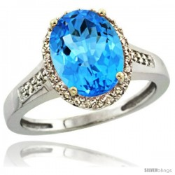 Sterling Silver Diamond Natural Swiss Blue Topaz Ring 2.4 ct Oval Stone 10x8 mm, 1/2 in wide