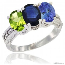 14K White Gold Natural Peridot, Blue Sapphire & Tanzanite Ring 3-Stone Oval 7x5 mm Diamond Accent