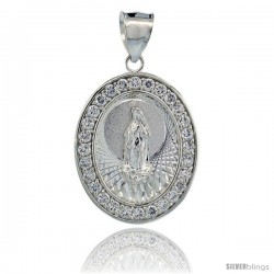 Sterling Silver Immaculate Heart of Mary Oval Pendant, 1 1/16 in tall