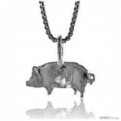 Sterling Silver Small Pig Pendant, 1/4 in