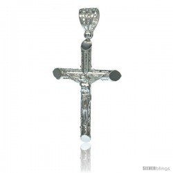 Sterling Silver Crucifix Pendant w/ Textured Tubular Cross, 1 3/4 in tall