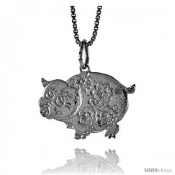 Sterling Silver Pig Pendant, 5/8 in