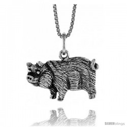 Sterling Silver Pig Pendant, 1/2 in