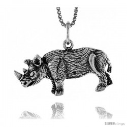 Sterling Silver African Rhino Pendant, 1/2 in