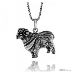 Sterling Silver Sheep Pendant, 5/8 in