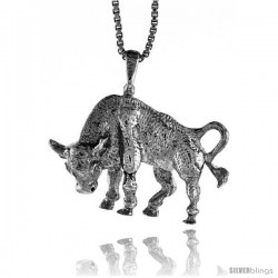 Sterling Silver Bull Pendant, 3/4 in