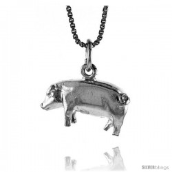 Sterling Silver Pig Pendant, 1/2 in -Style 4p408