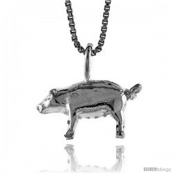 Sterling Silver Pig Pendant, 3/8 in