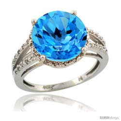 Sterling Silver Diamond Natural Swiss Blue Topaz Ring 5.25 ct Round Shape 11 mm, 1/2 in wide
