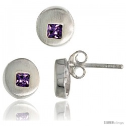 Sterling Silver Matte-finish Round-shaped Earrings (7 mm) & Pendant Slide (8 mm) Set, w/ Princess Cut Amethyst-colored CZ Stones
