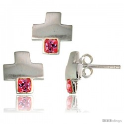 Sterling Silver Matte-finish Greek Cross Earrings (10mm tall) & Pendant Slide (10mm tall) Set, w/ Princess Cut Pink