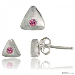Sterling Silver Matte-finish Triangular Earrings (6mm tall) & Pendant Slide (7mm tall) Set, w/ Brilliant Cut Pink