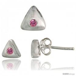 Sterling Silver Matte-finish Triangular Earrings (6mm tall) & Pendant Slide (7mm tall) Set, w/ Brilliant Cut Pink
