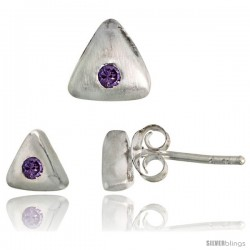 Sterling Silver Matte-finish Triangular Earrings (6mm tall) & Pendant Slide (7mm tall) Set, w/ Brilliant Cut Amethyst-colored
