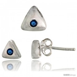 Sterling Silver Matte-finish Triangular Earrings (6mm tall) & Pendant Slide (7mm tall) Set, w/ Brilliant Cut Blue