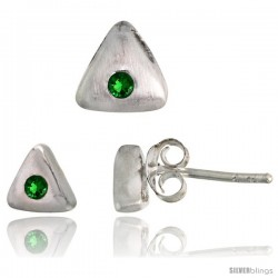 Sterling Silver Matte-finish Triangular Earrings (6mm tall) & Pendant Slide (7mm tall) Set, w/ Brilliant Cut Emerald-colored CZ