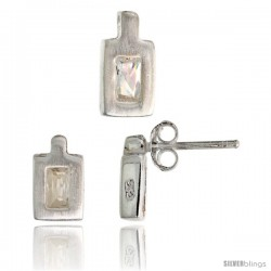 Sterling Silver Matte-finish Rectangular Earrings (9mm tall) & Pendant (11mm tall) Set, w/ Emerald Cut CZ Stones