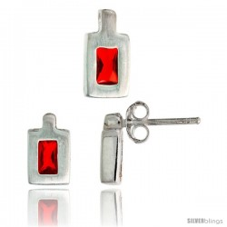 Sterling Silver Matte-finish Rectangular Earrings (9mm tall) & Pendant (11mm tall) Set, w/ Emerald Cut Ruby-colored CZ Stones