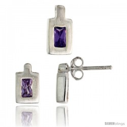 Sterling Silver Matte-finish Rectangular Earrings (9mm tall) & Pendant (11mm tall) Set, w/ Emerald Cut Amethyst-colored CZ