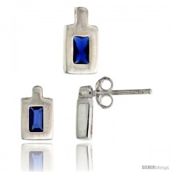 Sterling Silver Matte-finish Rectangular Earrings (9mm tall) & Pendant (11mm tall) Set, w/ Emerald Cut Blue Sapphire-colored CZ